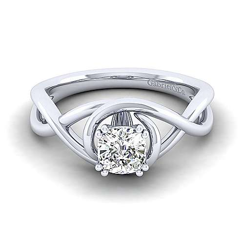 Gabriel - Celine 14k White Gold Cushion Cut Twisted Engagement Ring