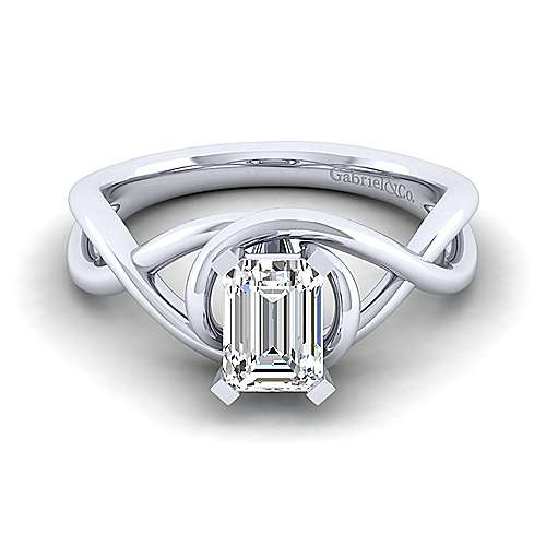 Gabriel - Celine 14k White Gold Emerald Cut Twisted Engagement Ring