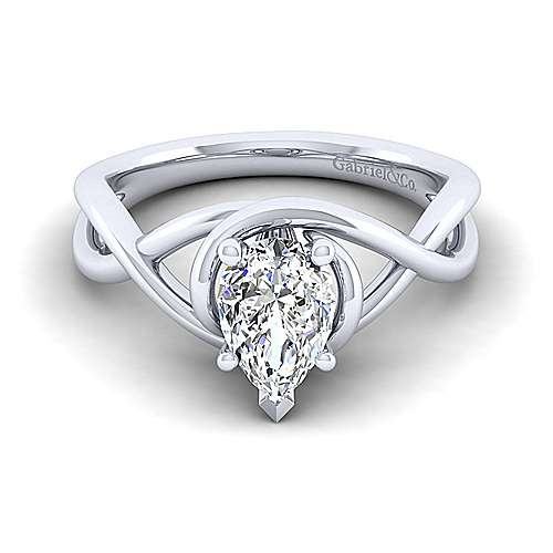 Gabriel - Celine 14k White Gold Pear Shape Twisted Engagement Ring