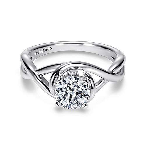Gabriel - Celine 14k White Gold Round Twisted Engagement Ring