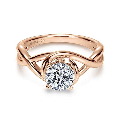 Gabriel - Celine 14k White/pink Gold Round Twisted Engagement Ring