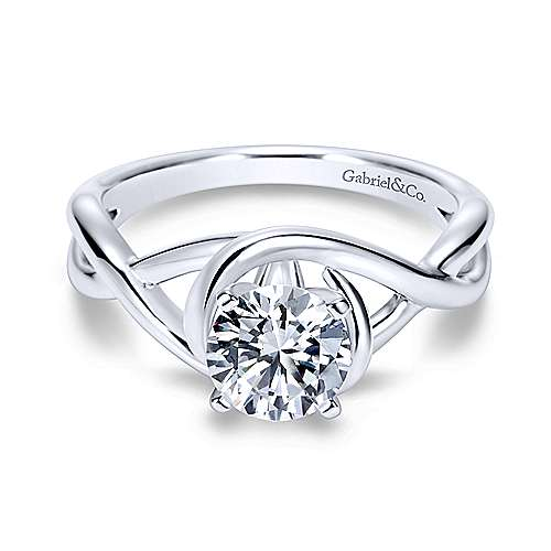 Gabriel - Celine 18k White Gold Round Twisted Engagement Ring