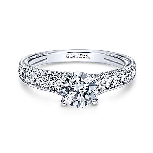Gabriel - Cerulean 14k White Gold Round Straight Engagement Ring