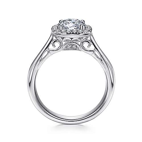 Champlain 18k White Gold Round Halo Engagement Ring angle 2