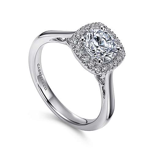 Champlain 18k White Gold Round Halo Engagement Ring angle 3