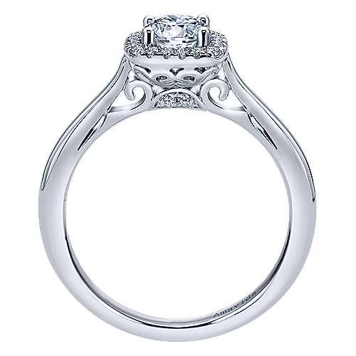 Champlain 18k White Gold Round Halo Engagement Ring