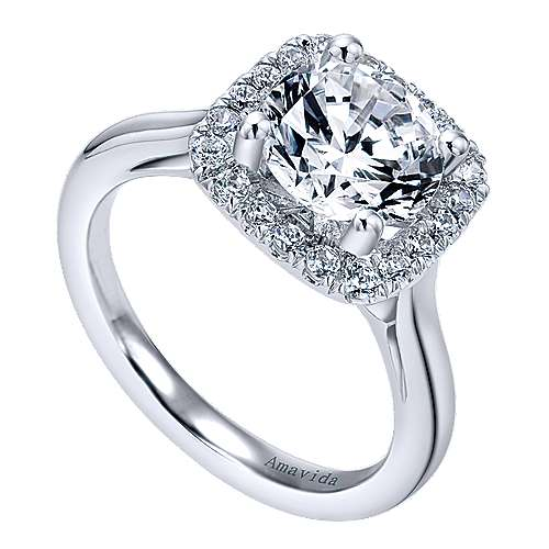 Champlain 18k White Gold Round Halo Engagement Ring