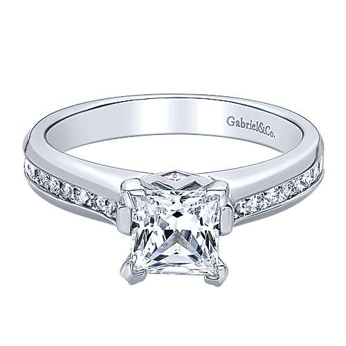 Gabriel - Chance 14k White Gold Princess Cut Straight Engagement Ring