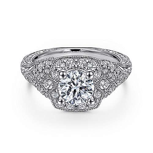 Chandler 14k White Gold Round Halo Engagement Ring