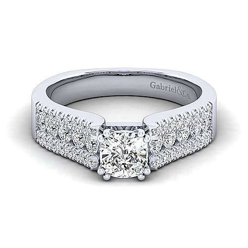 Gabriel - Channing 14k White Gold Cushion Cut Straight Engagement Ring