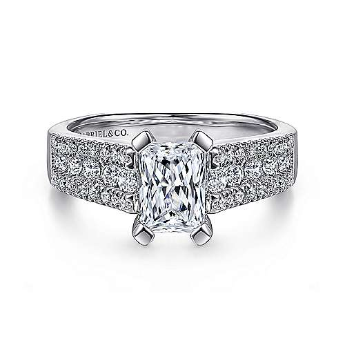 Gabriel - Channing 14k White Gold Emerald Cut Straight Engagement Ring