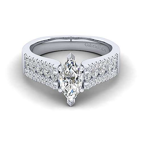 Gabriel - Channing 14k White Gold Marquise  Straight Engagement Ring