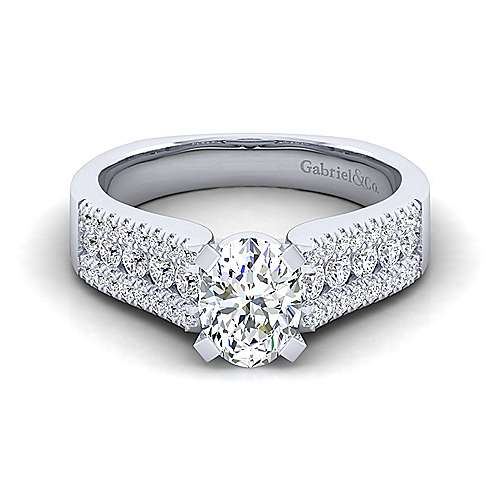 Gabriel - Channing 14k White Gold Oval Straight Engagement Ring