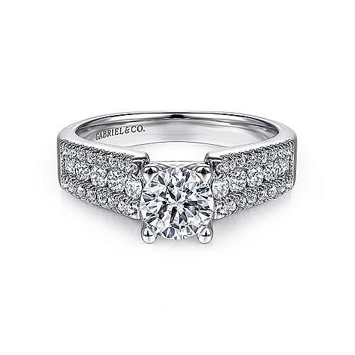 Gabriel - Channing 14k White Gold Round Straight Engagement Ring