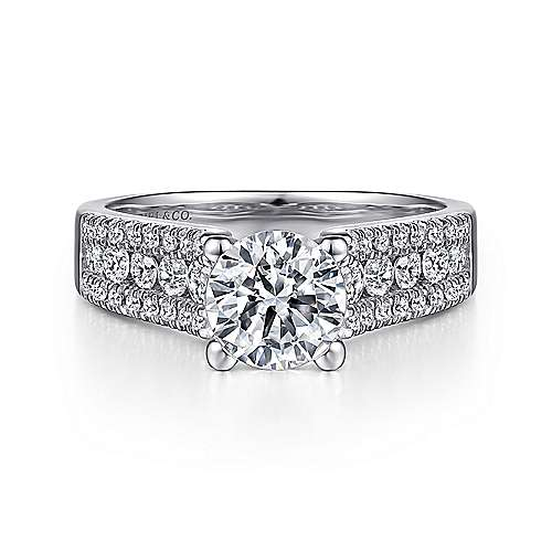 Gabriel - Channing 14k White Gold Round Straight Engagement Ring
