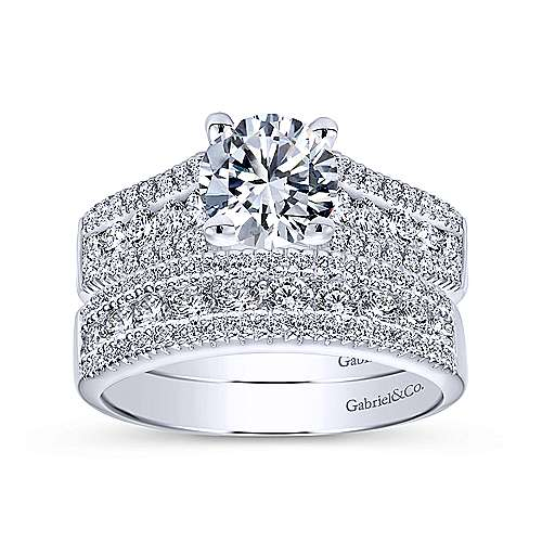 Channing 14k White Gold Round Straight Engagement Ring angle 4