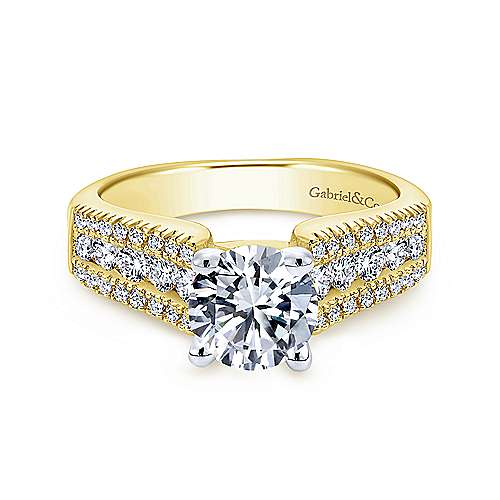 Gabriel - Channing 14k Yellow/white Gold Round Straight Engagement Ring