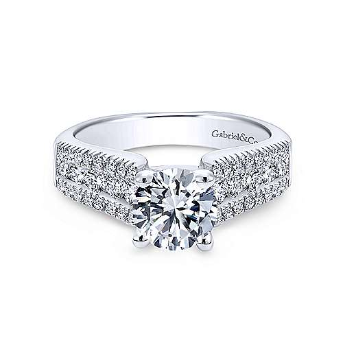 Gabriel - Channing 18k White Gold Round Straight Engagement Ring