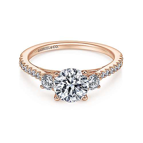 Gabriel - Chantal 14k Pink Gold Round 3 Stones Engagement Ring