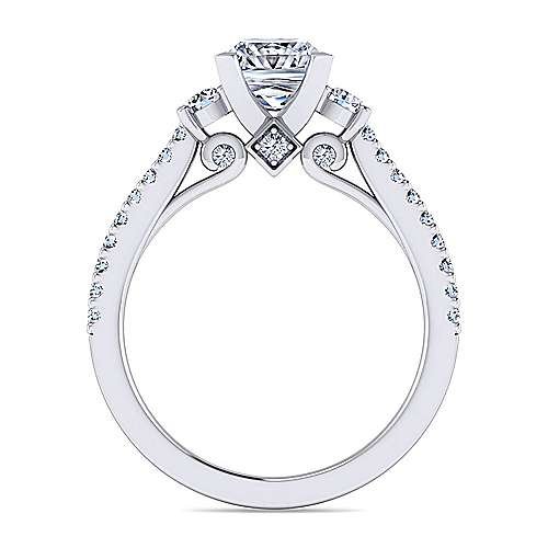 Chantal 14k White Gold Princess Cut 3 Stones Engagement Ring angle 2