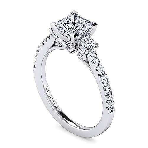 Chantal 14k White Gold Princess Cut 3 Stones Engagement Ring angle 3