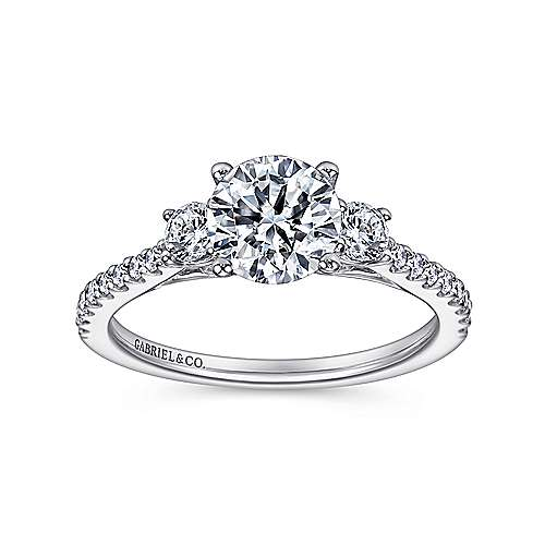 Chantal 14k White Gold Round 3 Stones Engagement Ring angle 5
