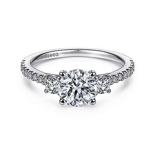 Gabriel - Chantal 14k White Gold Round 3 Stones Engagement Ring