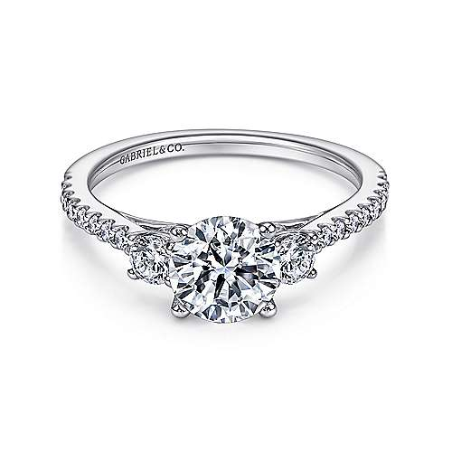 Gabriel - Chantal Platinum Round 3 Stones Engagement Ring