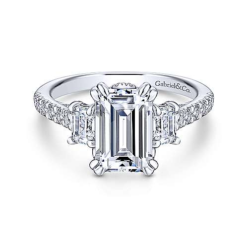 ring rings centre emerald moselle engagement diamond gia cut halo