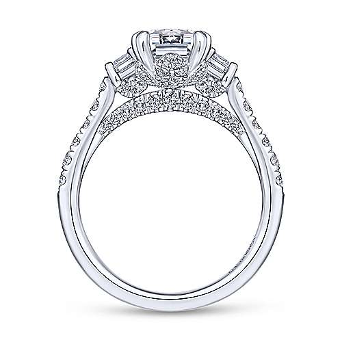 Charlene 18k White Gold Emerald Cut 3 Stones Engagement Ring angle 2