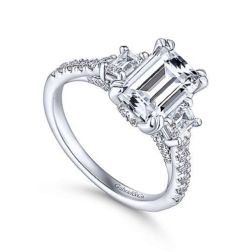 charlene 18k white gold emerald cut 3 stones engagement ring angle 3 - 3 Stone Wedding Rings