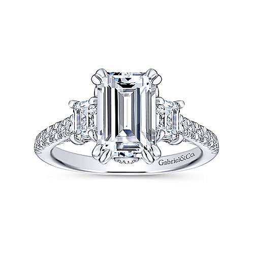 Charlene 18k White Gold Emerald Cut 3 Stones Engagement Ring angle 5