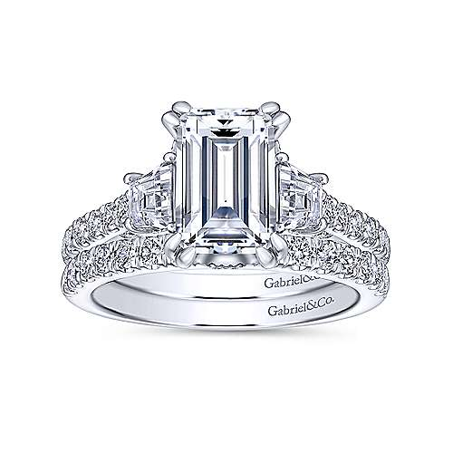 Charlene 18k White Gold Emerald Cut 3 Stones Engagement Ring angle 4
