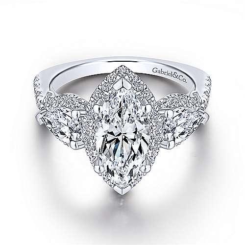 Charlene 18k White Gold Marquise  3 Stones Halo Engagement Ring angle 1