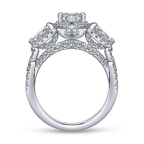 Charlene 18k White Gold Marquise  3 Stones Halo Engagement Ring angle 2