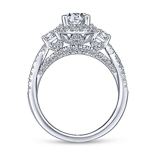 Charlene 18k White Gold Pear Shape 3 Stones Engagement Ring angle 2