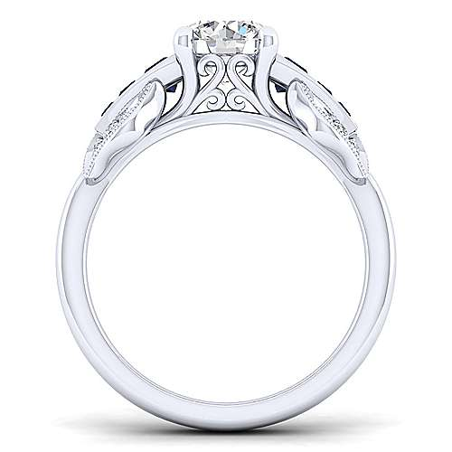 Charlie 18k White Gold Round Straight Engagement Ring angle 2