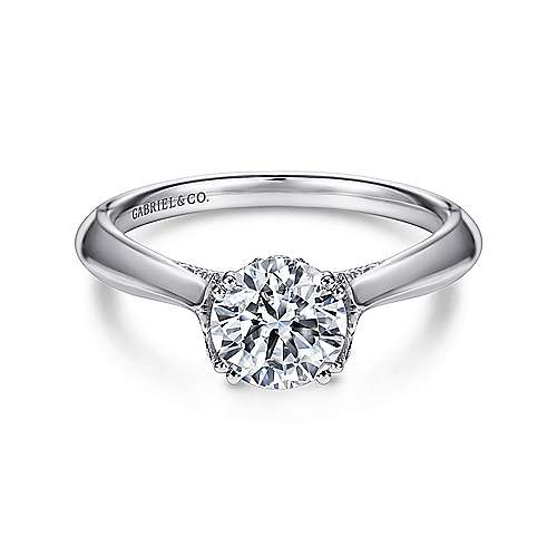 Gabriel - Charlotte 18k White Gold Round Solitaire Engagement Ring