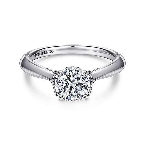 Gabriel - Charlotte Platinum Round Solitaire Engagement Ring