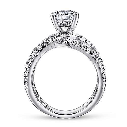 Chasma 18k White Gold Round Split Shank Engagement Ring angle 2