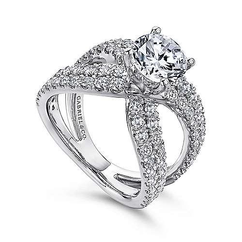 Chasma 18k White Gold Round Split Shank Engagement Ring angle 3