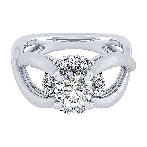 Gabriel - Chelly 14k White Gold Round Halo Engagement Ring
