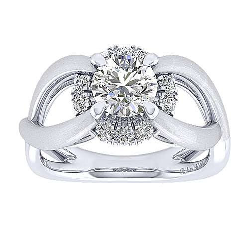 Chelly 14k White Gold Round Halo Engagement Ring angle 5