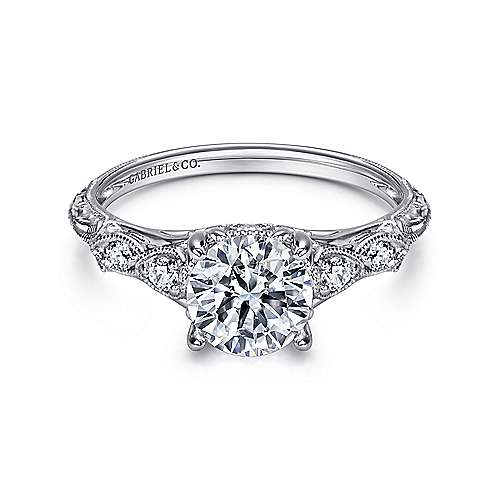 Chelsea 18k White Gold Round Straight Engagement Ring angle 1