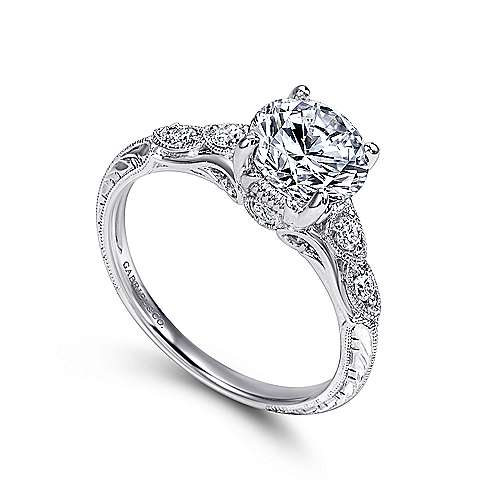 Chelsea 18k White Gold Round Straight Engagement Ring angle 3