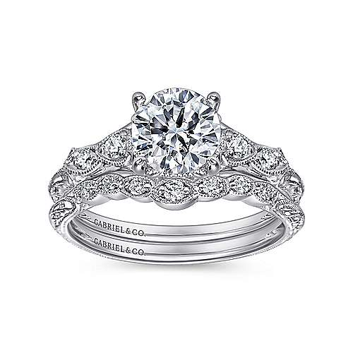 Chelsea 18k White Gold Round Straight Engagement Ring angle 4