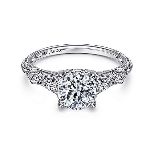 engagement products gallery diamond gabriel round ring amavida straight rings platinum alexandra ornate with mounting