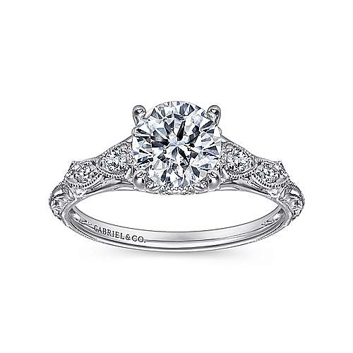 Chelsea Platinum Round Straight Engagement Ring angle 5