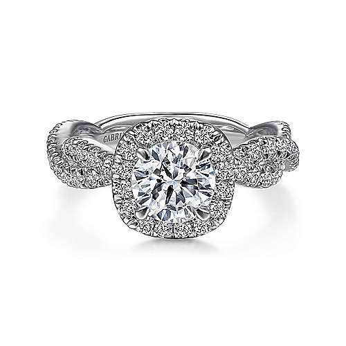 Gabriel - Chesapeake 18k White Gold Round Halo Engagement Ring