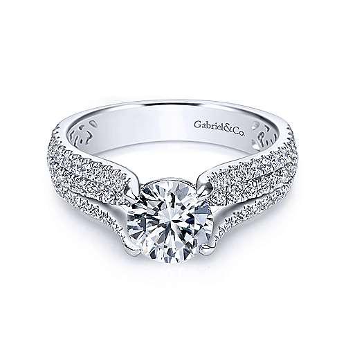 Gabriel - Chessie 14k White Gold Round Straight Engagement Ring
